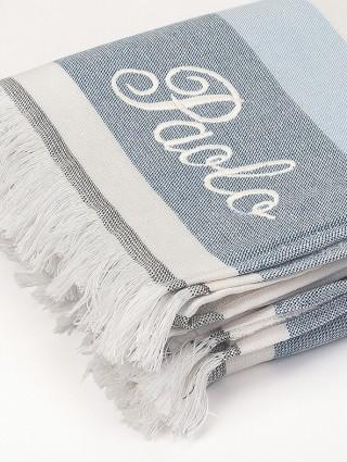 Blue Antigua fouta - Customization detail