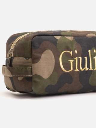 """Customized """"Camouflage"""" print Beauty Case with Times font embroidery in gold color - Detail"""