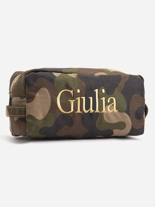 """Customized """"Camouflage"""" print Beauty Case with Times font embroidery in gold color"""