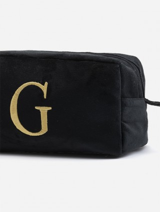 Black encrypted velours fabric beauty case with bronze colored Times font embroidery