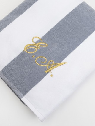 """Customized """"Yacht"""" beach towel pearl/white with gold color italic font embroidery"""