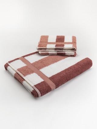 Coppia asciugamani spugna Design - Marsala