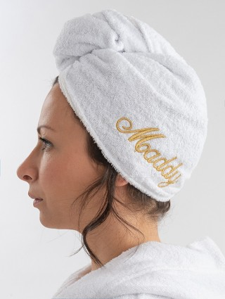 Turbante in spugna bianco personalizzato - Font corsivo