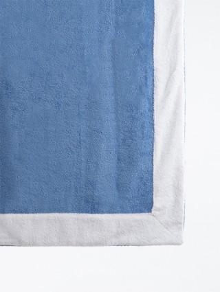 Telo sdraio con cappuccio spugna 80x150 - Bluette bordo Bianco
