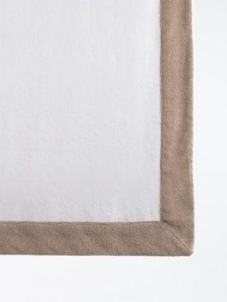 Telo sdraio con cappuccio spugna 80x150 - Bianco bordo Tortora