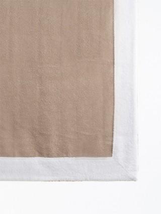 Telo sdraio con cappuccio spugna 80x150 - Tortora bordo Bianco