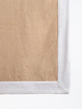 Telo sdraio con cappuccio spugna 80x150 - Beige bordo Bianco