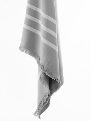 Fouta microspugna 3 righe personalizzato grigio - Dettaglio