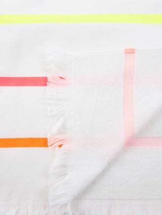 Fouta microspugna righe fluo bianco - Dettaglio
