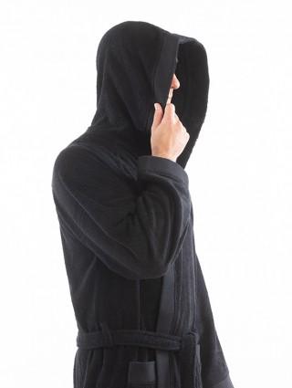 Accappatoio spugna adulto - Dettaglio nero