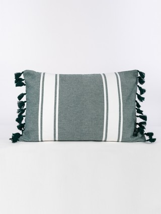 Cuscino fouta con nappine - Verde inglese