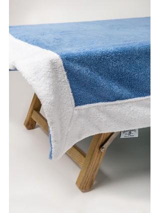 Telo lettino in spugna 420 gr/mq  - Dettaglio bluette bordo bianco