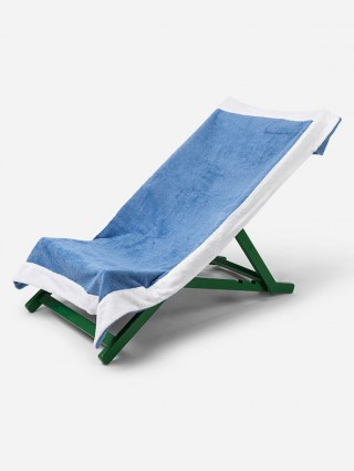 Telo sdraio con cappuccio in spugna 420 gr/mq - Bluette bordo Bianco