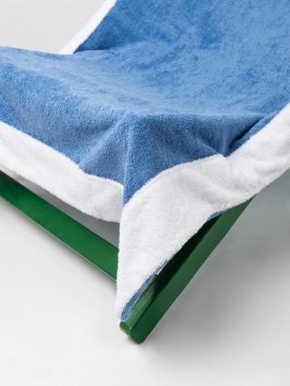 Telo sdraio con cappuccio in spugna 420 gr/mq - Dettaglio bluette bordo bianco
