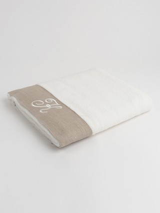 Sponge Bath Towel with taupe linen border and embroidered