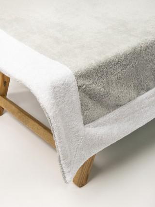 Telo lettino in spugna 420 gr/mq  - Dettaglio perla bordo bianco