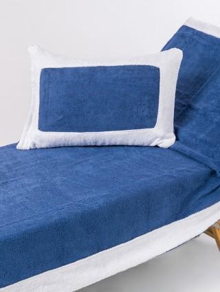 Telo lettino in spugna 420 gr/mq  - Dettaglio denim bordo bianco