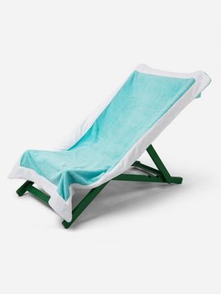 Telo sdraio con cappuccio in spugna 420 gr/mq - Tiffany bordo Bianco