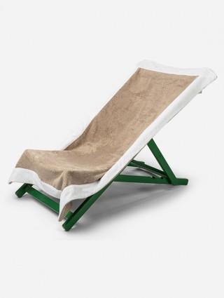 Telo sdraio con cappuccio in spugna 420 gr/mq - Tortora bordo Bianco