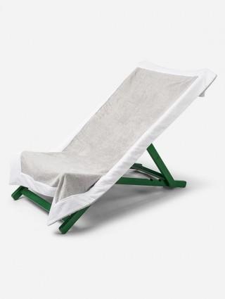 Telo sdraio con cappuccio in spugna 420 gr/mq - Perla bordo Bianco