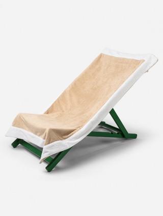 Telo sdraio con cappuccio in spugna 420 gr/mq - Beige bordo Bianco