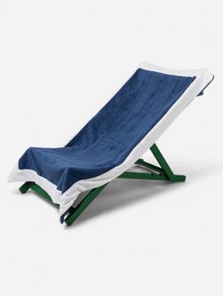 Telo sdraio con cappuccio in spugna 420 gr/mq - Denim bordo Bianco
