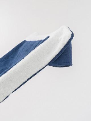 Telo sdraio con cappuccio in spugna 420 gr/mq - Dettaglio cappuccio denim bordo bianco