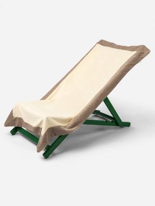 Telo sdraio con cappuccio in spugna 420 gr/mq - Ostrica bordo Tortora