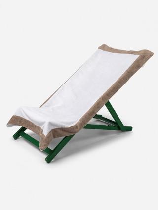 Telo sdraio con cappuccio in spugna 420 gr/mq - Bianco bordo Tortora