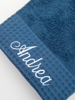 Customized Bath Towels woven terry with waffle pique border