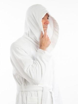 Accappatoio spugna personalizzato - Dettaglio bianco