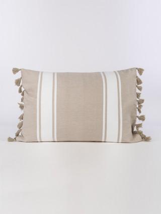 Fodera cuscino fouta con nappine - Nuovo sabbia