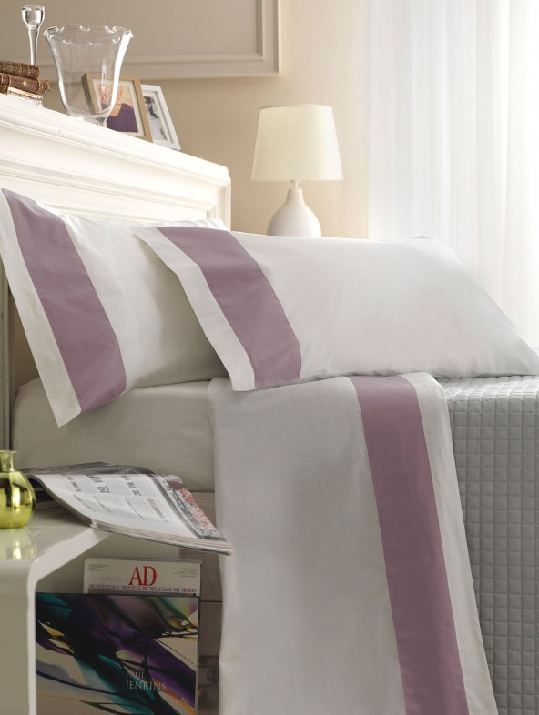 Double size Bed Sheet Set with applied border 100% Satin Cotton