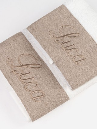 Customized couple sponge sowel with taupe linen border