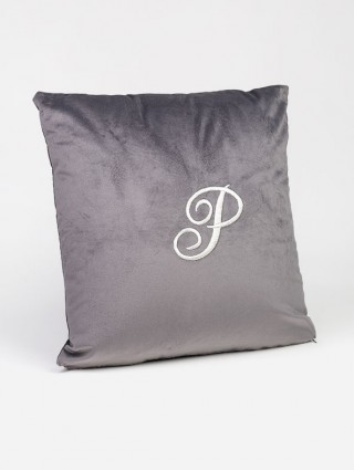 Velour cushions with padding and embroidered initials