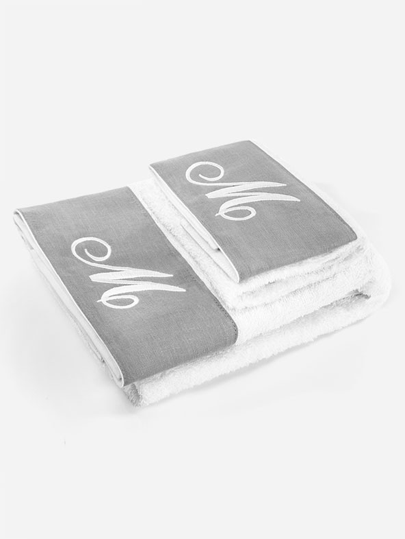 "Pair of ""Life"" towels - Rhombus -Sand"