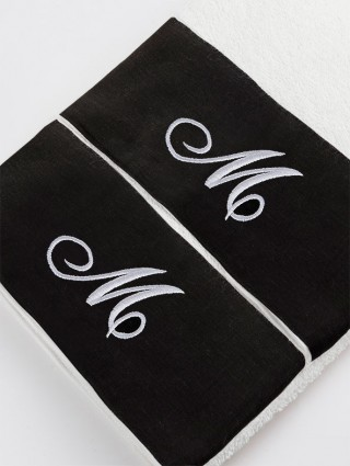 Couple Sponge Towel with Black linen border and embroidered