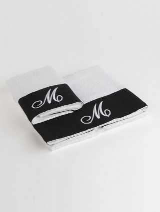 Couple Sponge Towel with Black linen border and embroidery