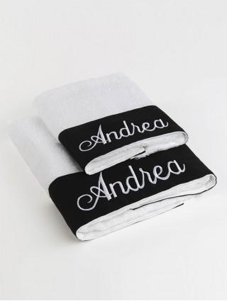 Customized couple Sponge Towel with black linen border