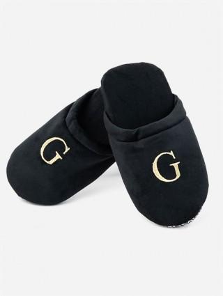 Black velvet Slippers with Alphabetical initials