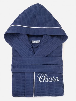 Blue outline White bathrobe with cursive font customized