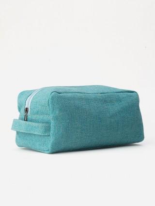Jute Beauty Case - Turquoise