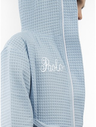 Light-Blue outline white bathrobe with cursive font customized