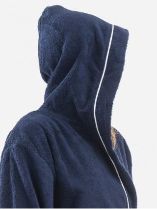 Sponge bathrobe with border - Blue outline white