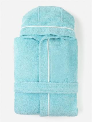 Sponge Bathrobe for Boy/Kid - Tiffany outline white