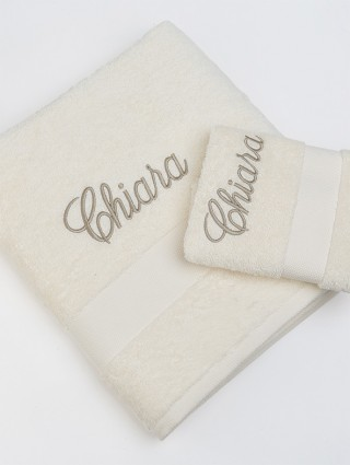 Coppia Asciugamani Spugna Tinta Unita Personalizzato