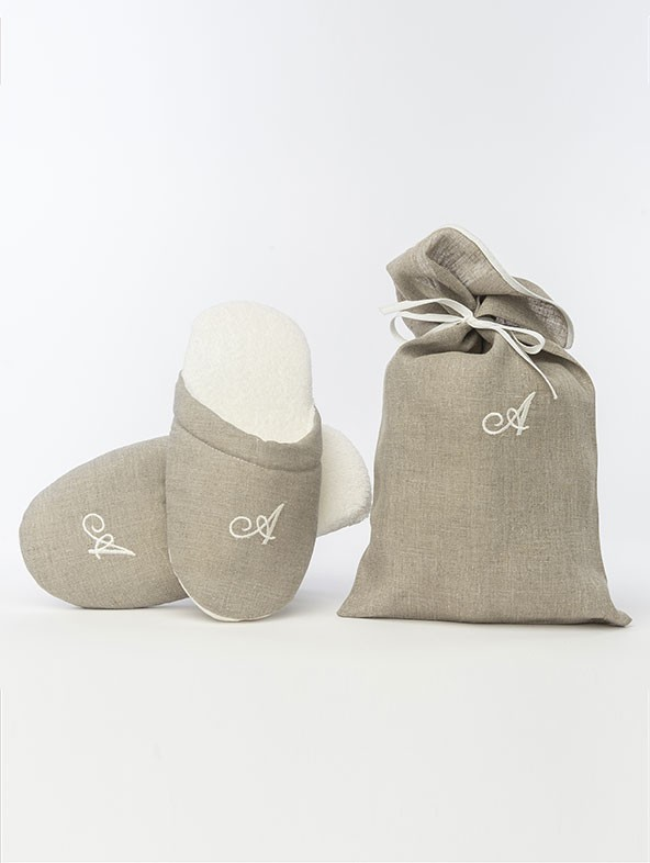 Sponge Taupe Slippers with Alphabetical initials