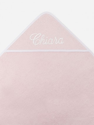 Pink outline white with white italic font embroidery