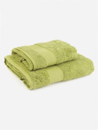 Coppia asciugamani spugna - Verde medio
