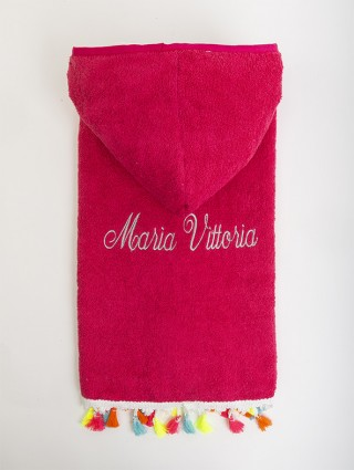 Baby poncho fuxia customized with silver cursive font